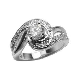 925 Silver Round Cut CZ Diamond Swirl Ring